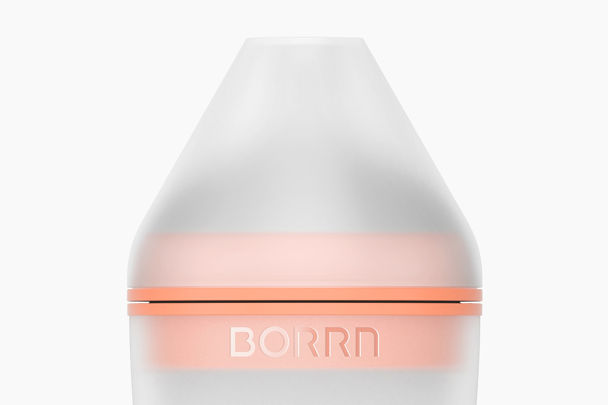 Detail view of front of small Borrn bottle with lid, orange.