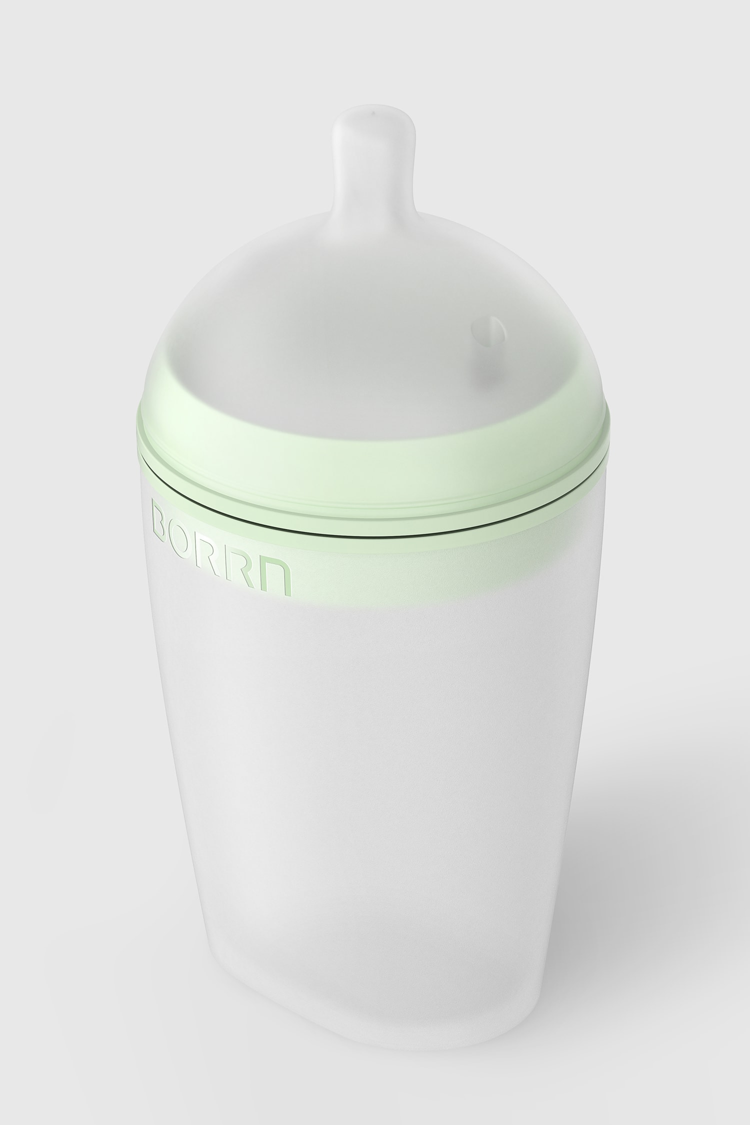 Perspective view of the large Borrn bottle, green on a green background.
