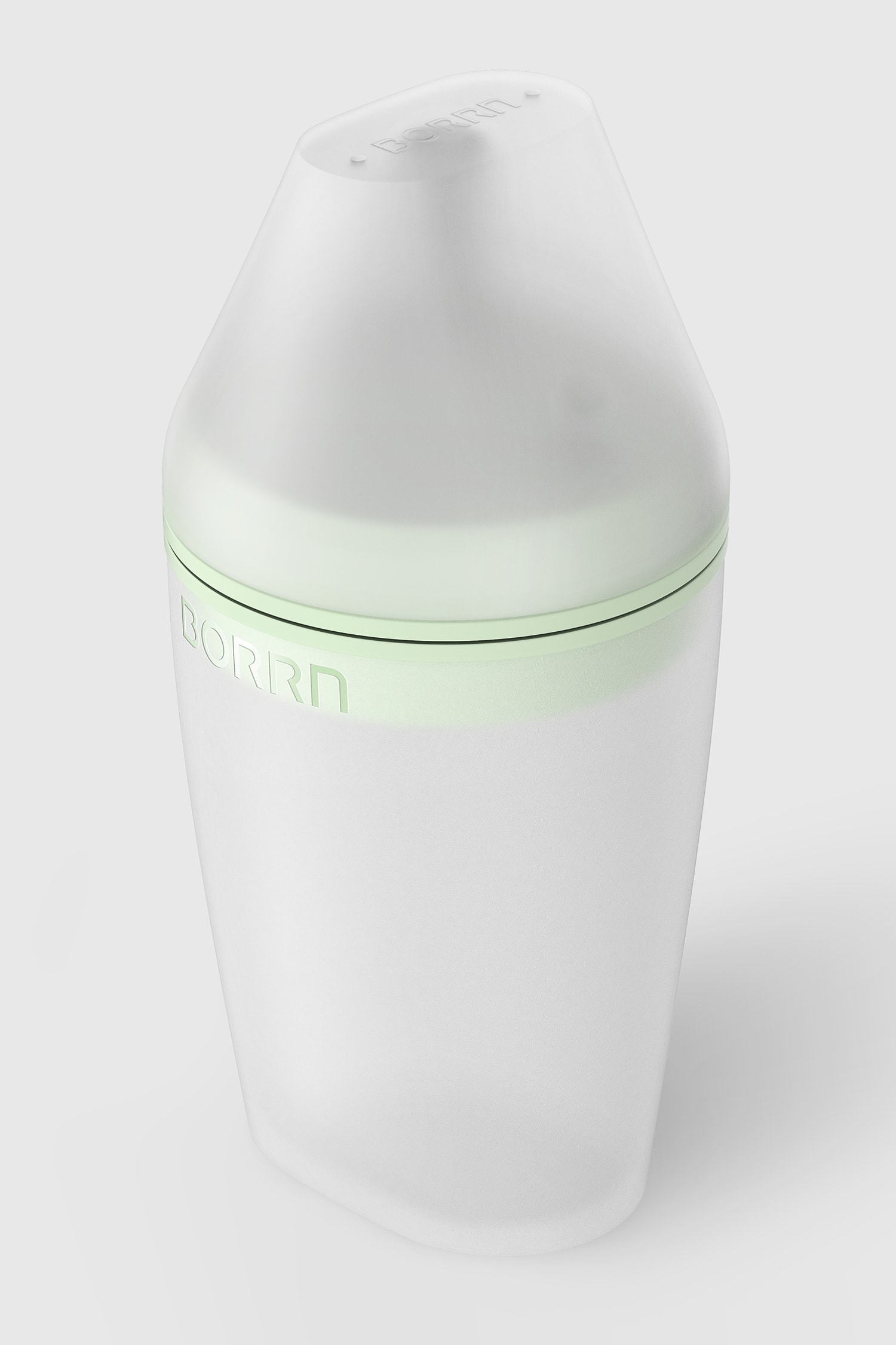 Perspective view of the large Borrn bottle with lid, green on a green background.