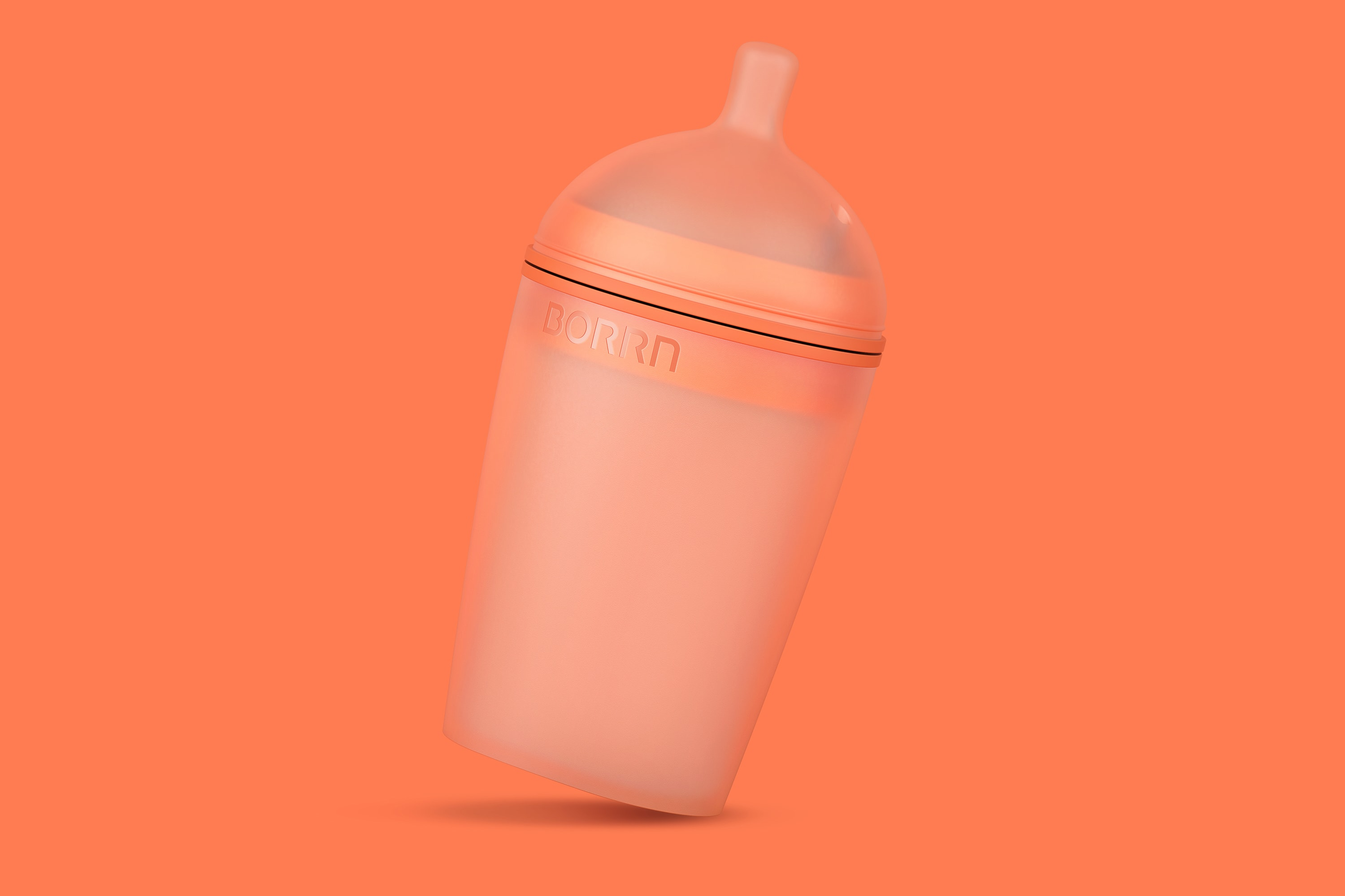 Perspective view of the large Borrn bottle, orange on an orange background.