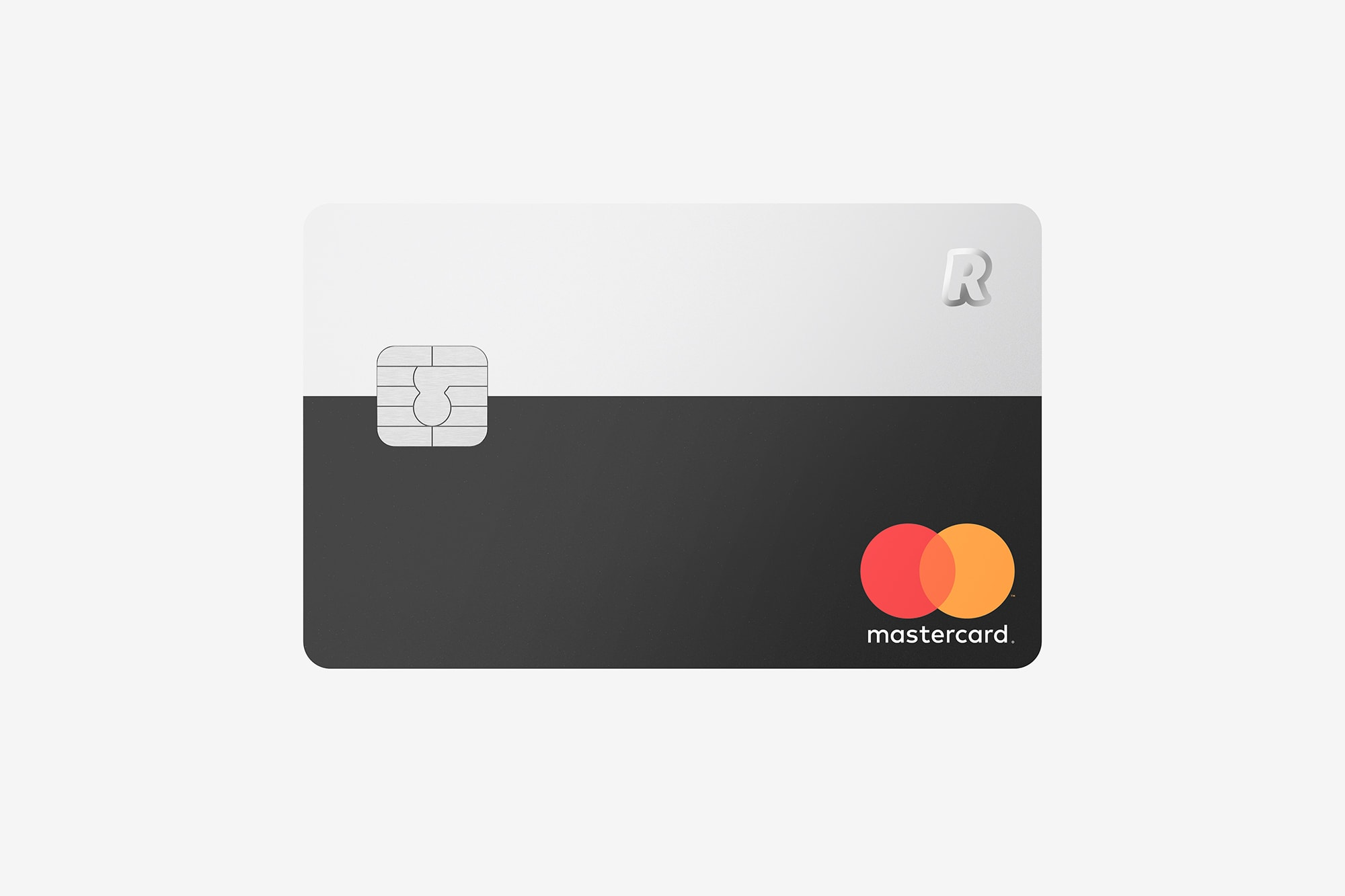 Front view of the Revolut Premium Bank Card showing a silver chip, a mastercard logo and Revolut logo, black and silver.