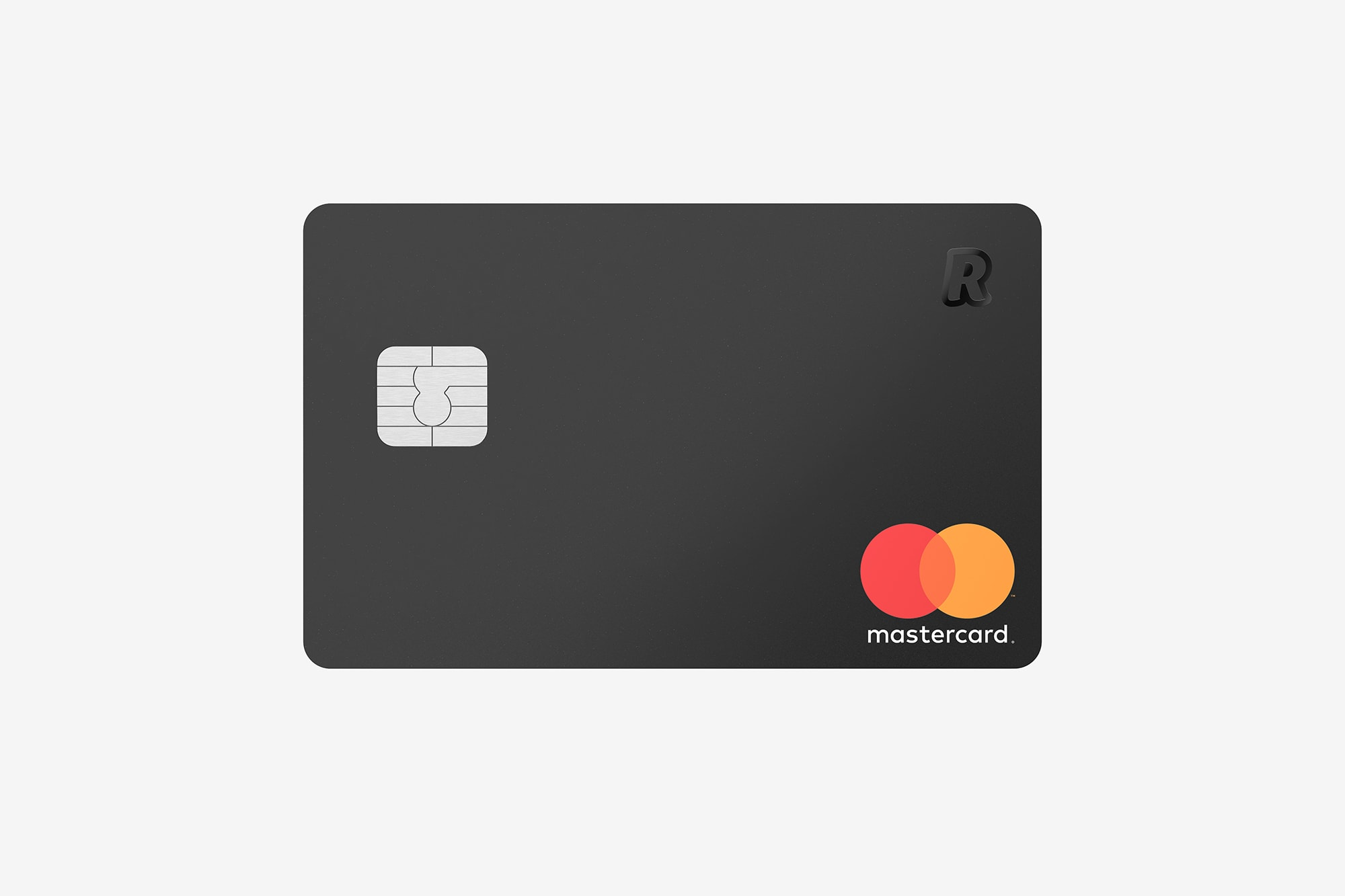 Front view of the Revolut Premium Bank Card showing a silver chip, a mastercard logo and Revolut logo, black.