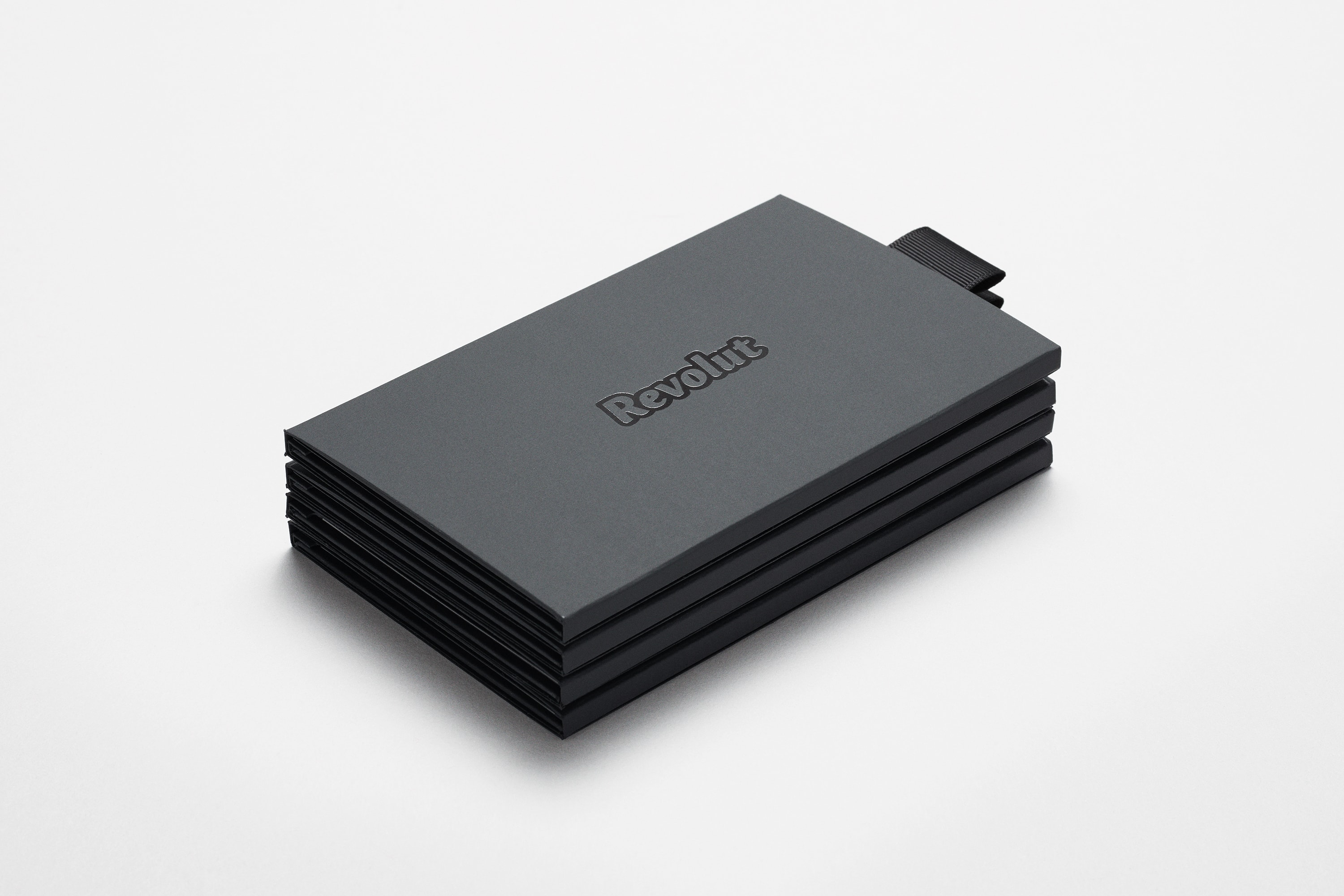 Perspective view of Revolut Premium bank card packaging in black with the revolut logo shown.