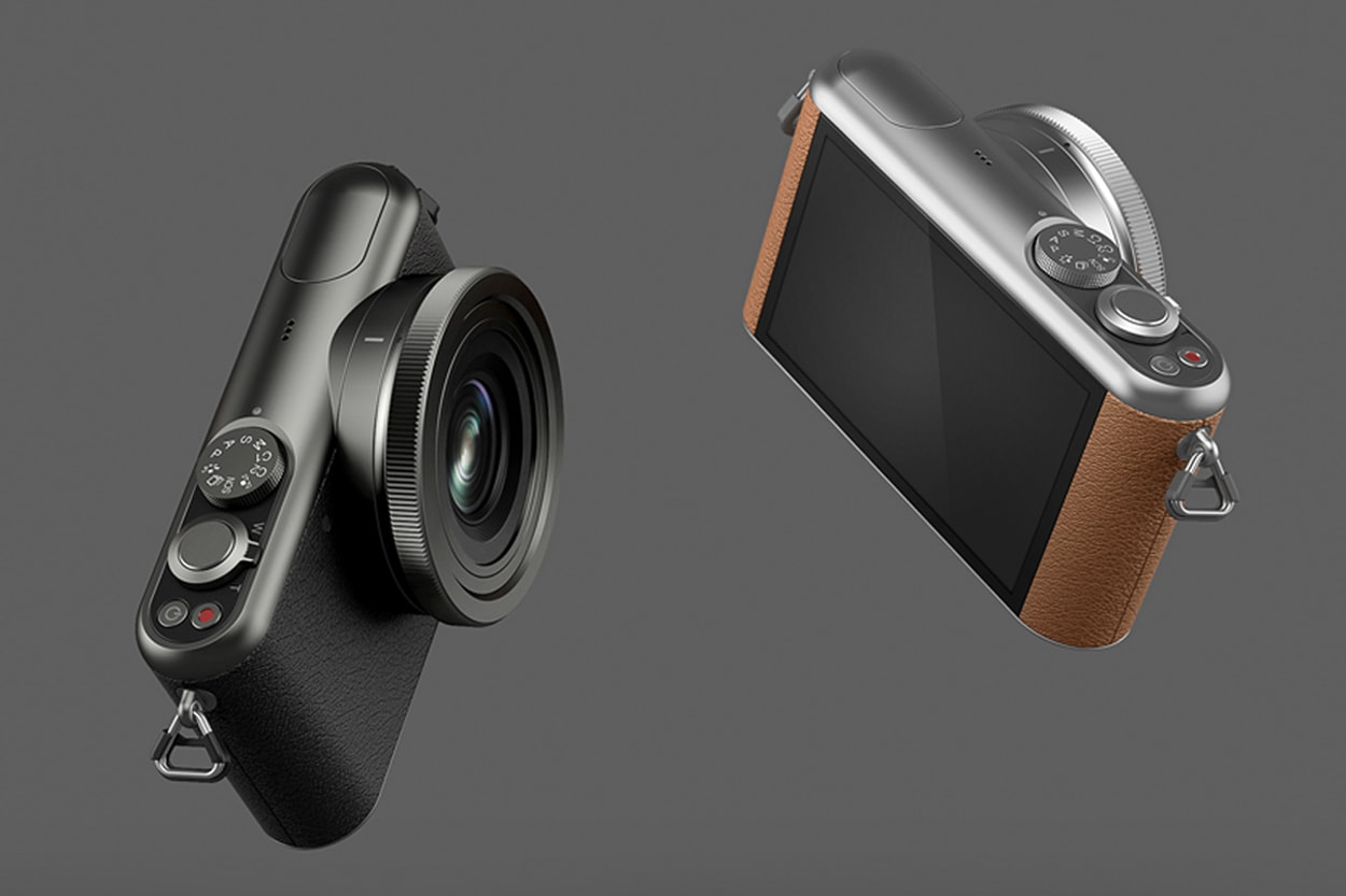 Front view of the Segment camera floating in black and tan colourways on a dark grey background.