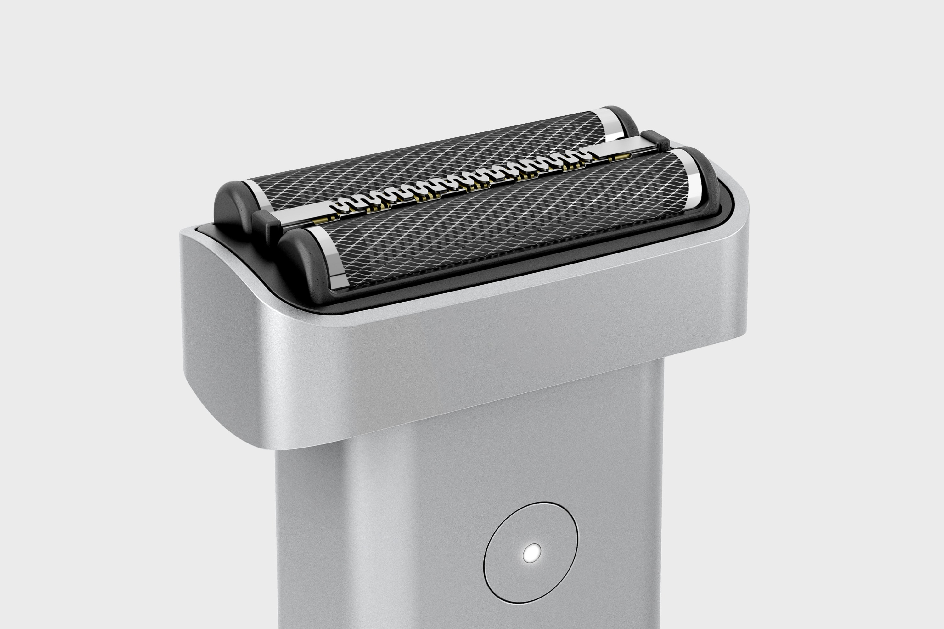 Isometric view of the Extrusion shaver, shown in the silver colourway.