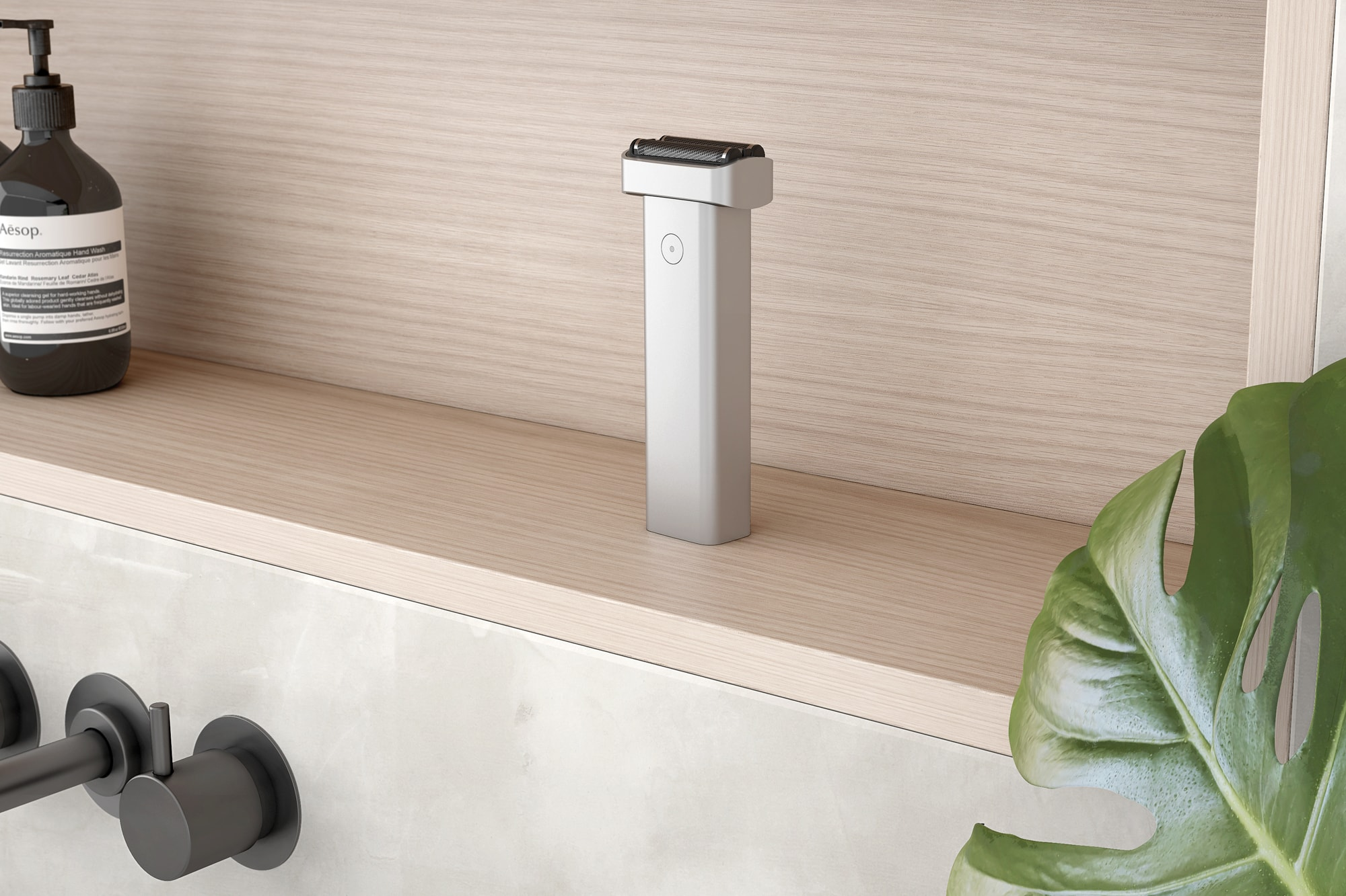 Extrusion Shaver standing on a wooden shelf in a bathroom.
