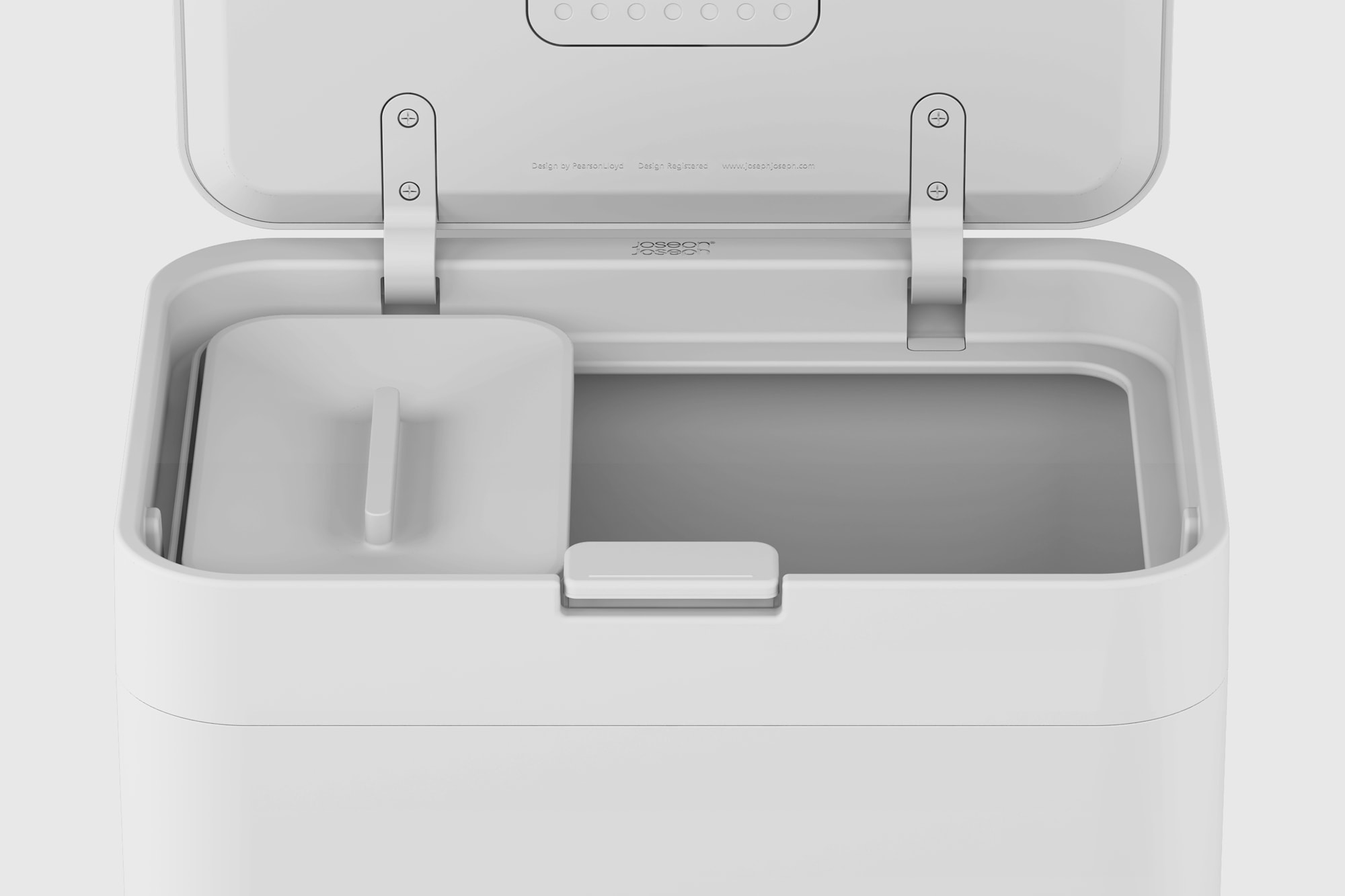 Front view of the top of the JosephJoseph Totem, a waste management container, greyscale render.