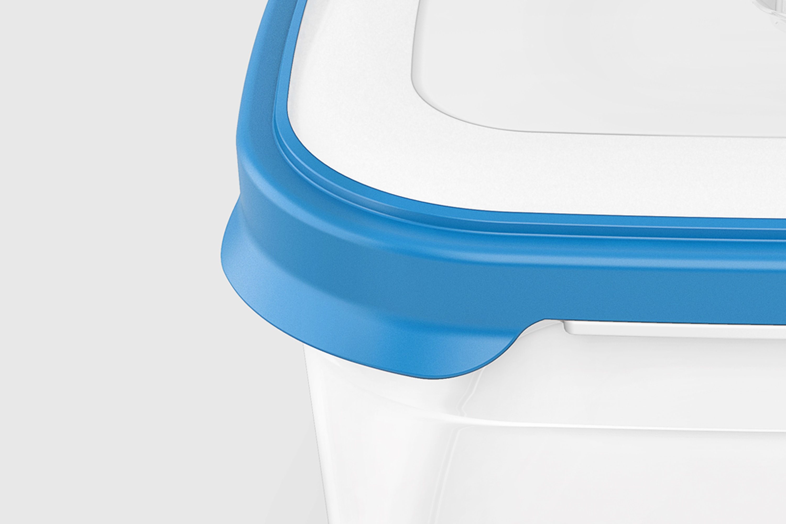 Front view of a corner of the JosephJoseph box with a blue lid