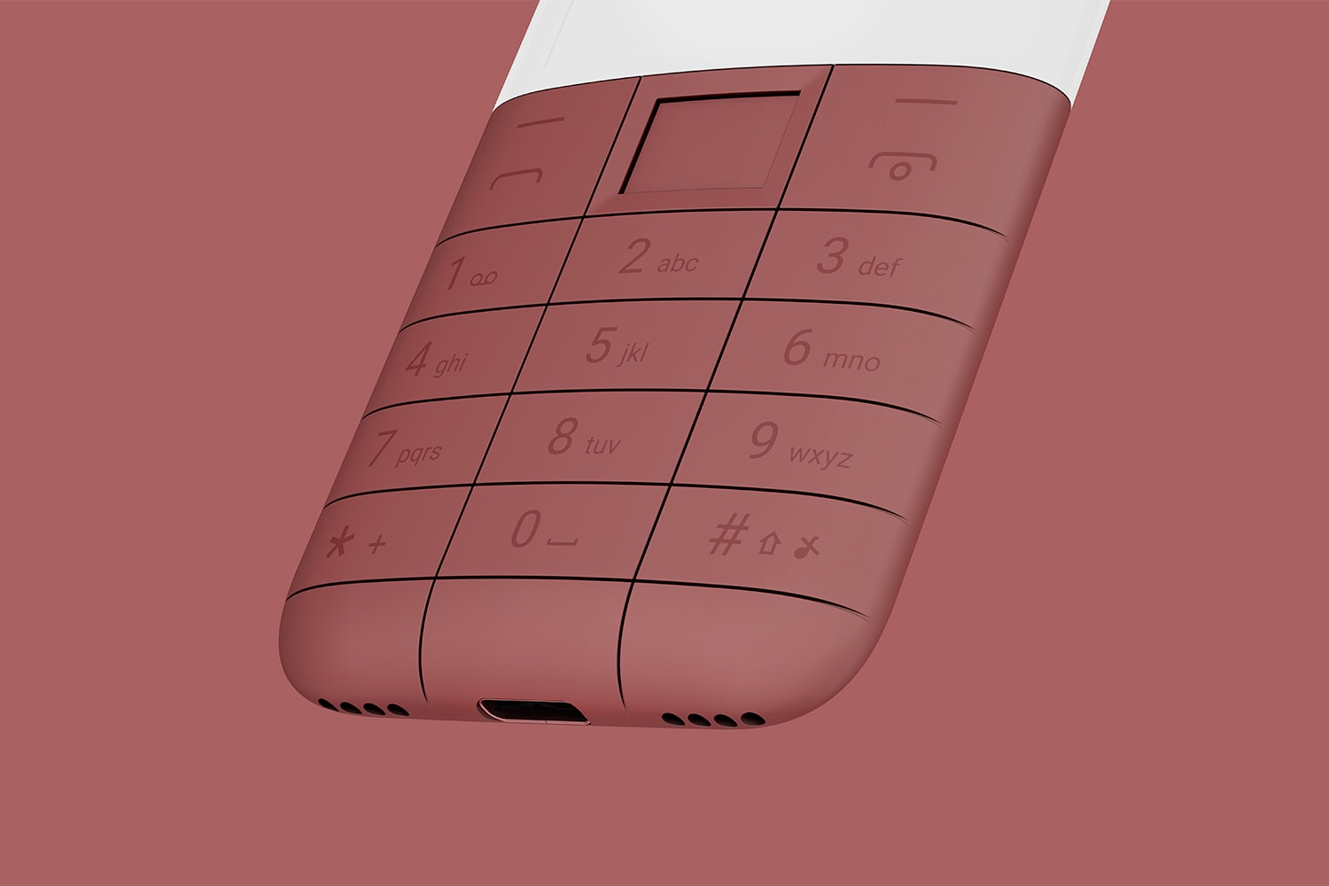 Perspective view of a section of the Offline Phone, Red. The image shows the number buttons, navigation buttons, charging port and speaker.