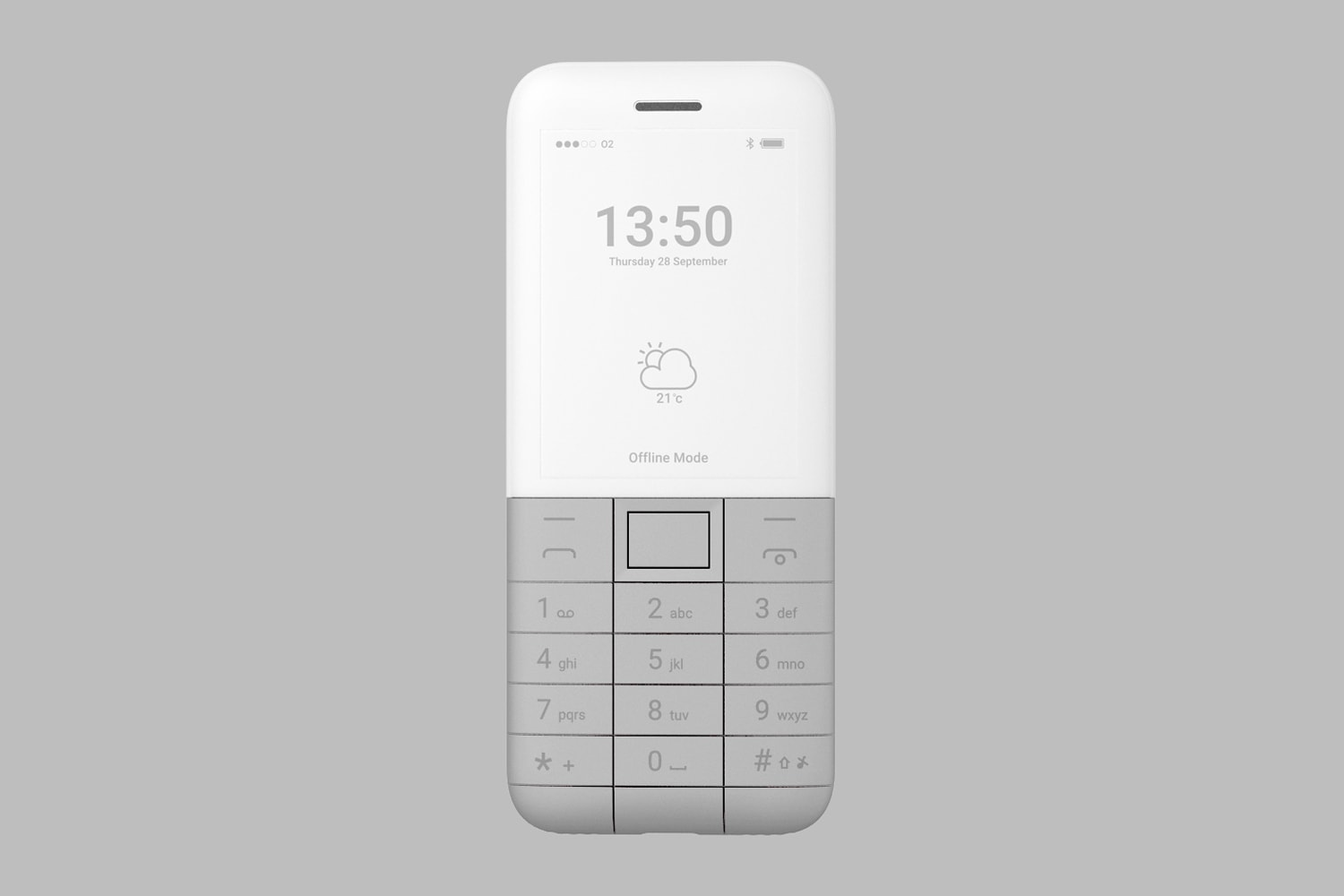 Front view of the Offline Phone, Dark Grey. The front of the phone shows a screen which displays the battery status, cellular reception, time, date, weather and says, 'offline mode'.