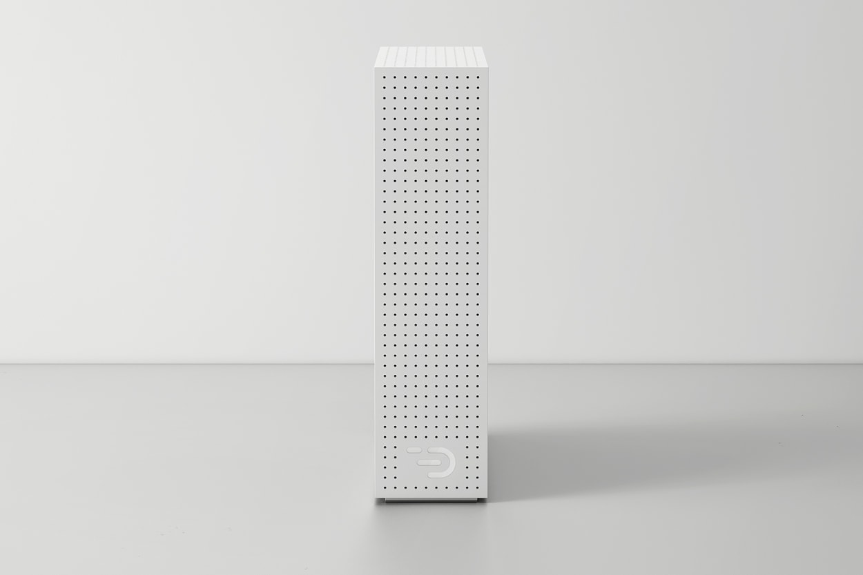 Front view of the Node one in white. The casing is perforated with small holes for venting and shows the DADI logo.