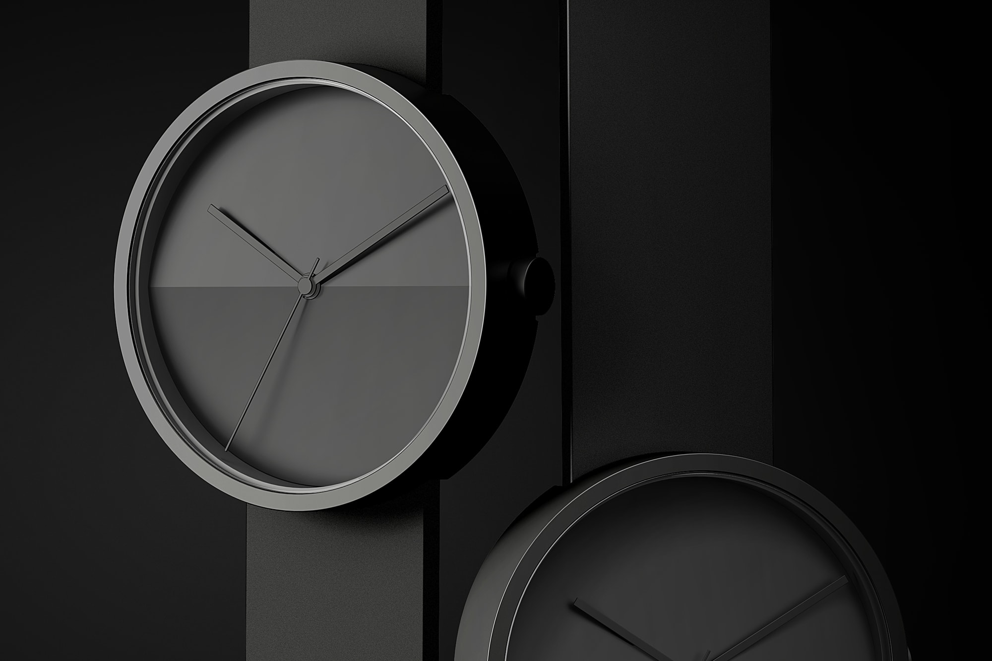 Front view of two Horizon watches close up in black on a black background.