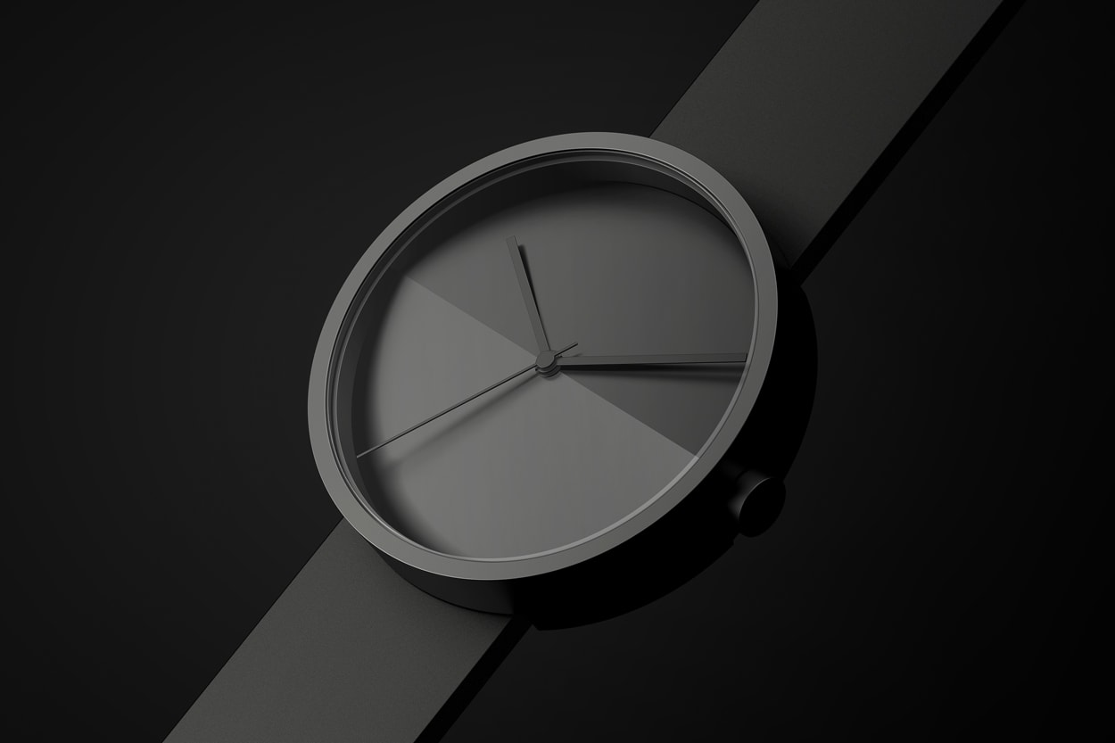 Isometric view showing the front and side of the Horizon watch face in black on a black background.