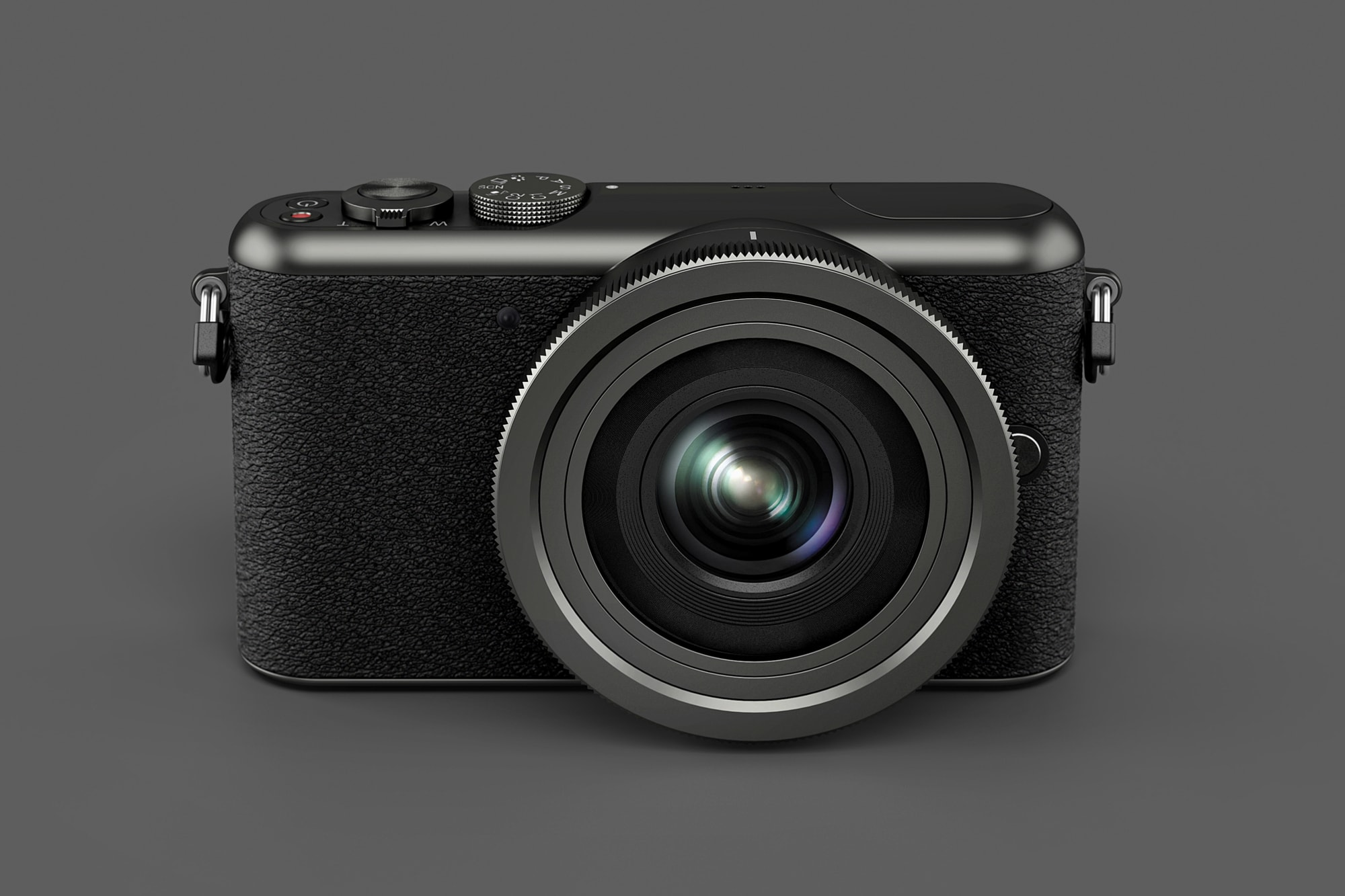 Front view of the Segment camera in black on a dark grey background.