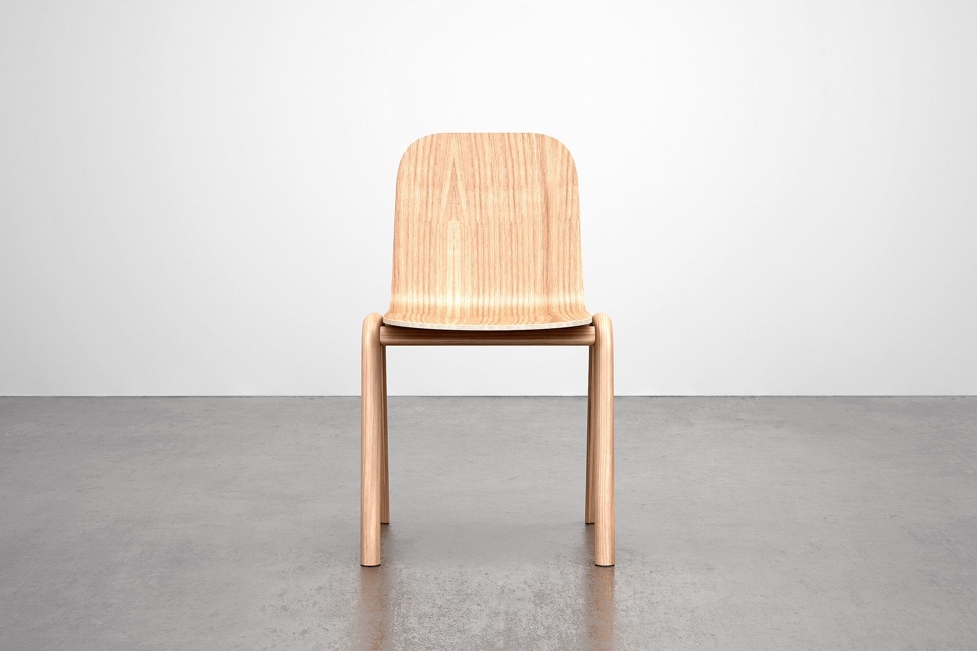Front view of Oak Chair. The chair is made using steam bent wood.