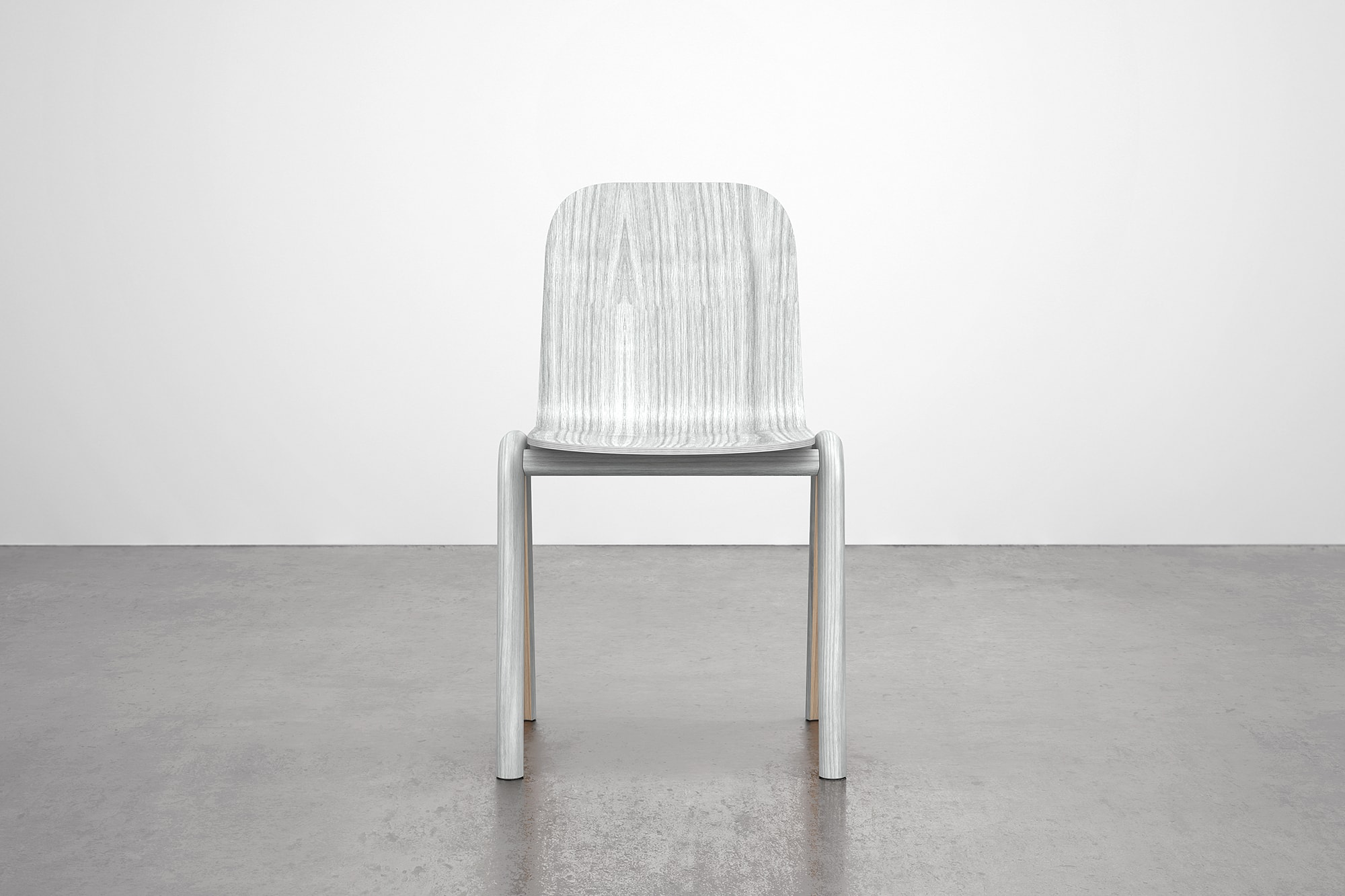 Front view of Grey Chair. The chair is made using steam bent wood.