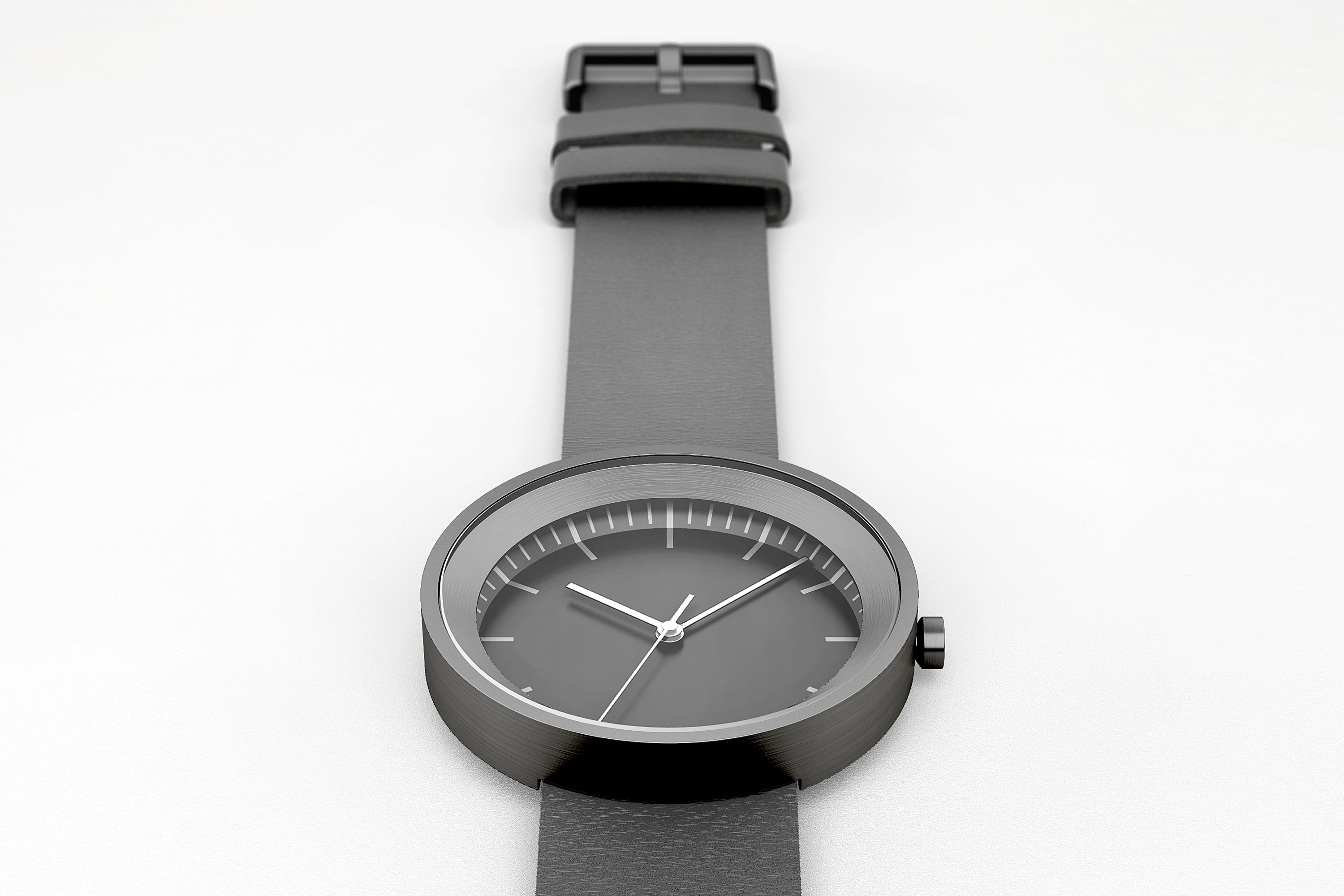 Top view of Hide Watch showing the fastening and minute mark details, Black.