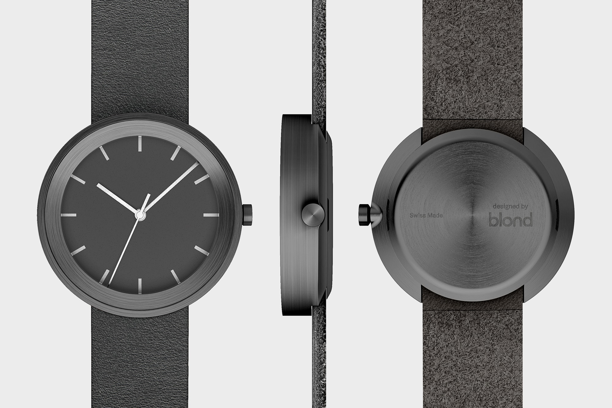 Front, side and back view of Hide Watch in Black showing the leather strap finish, the dial and text on the back.
