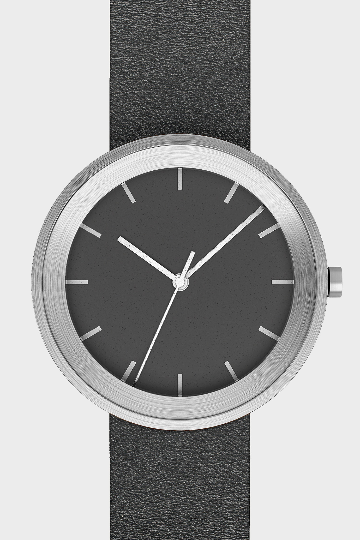 Front view of Hide Watch in black and silver.