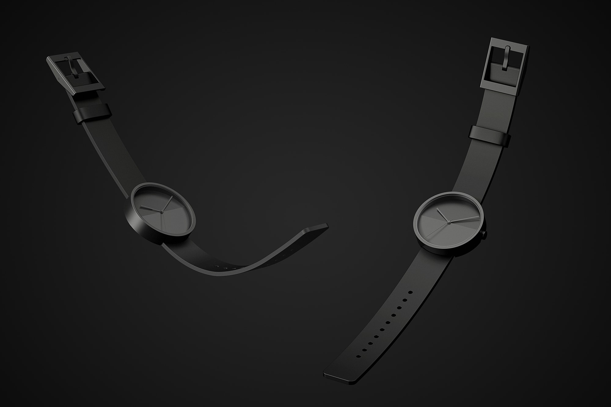 Front view of the Horizon watches floating in black on a black background.