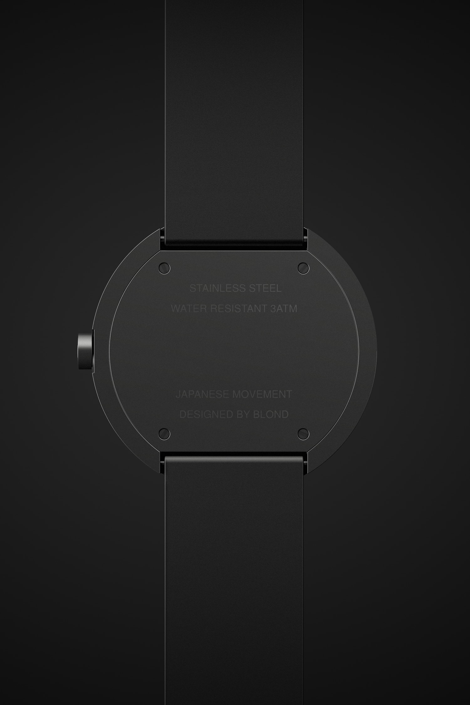 Back view of the Horizon watch face in black on a black background.