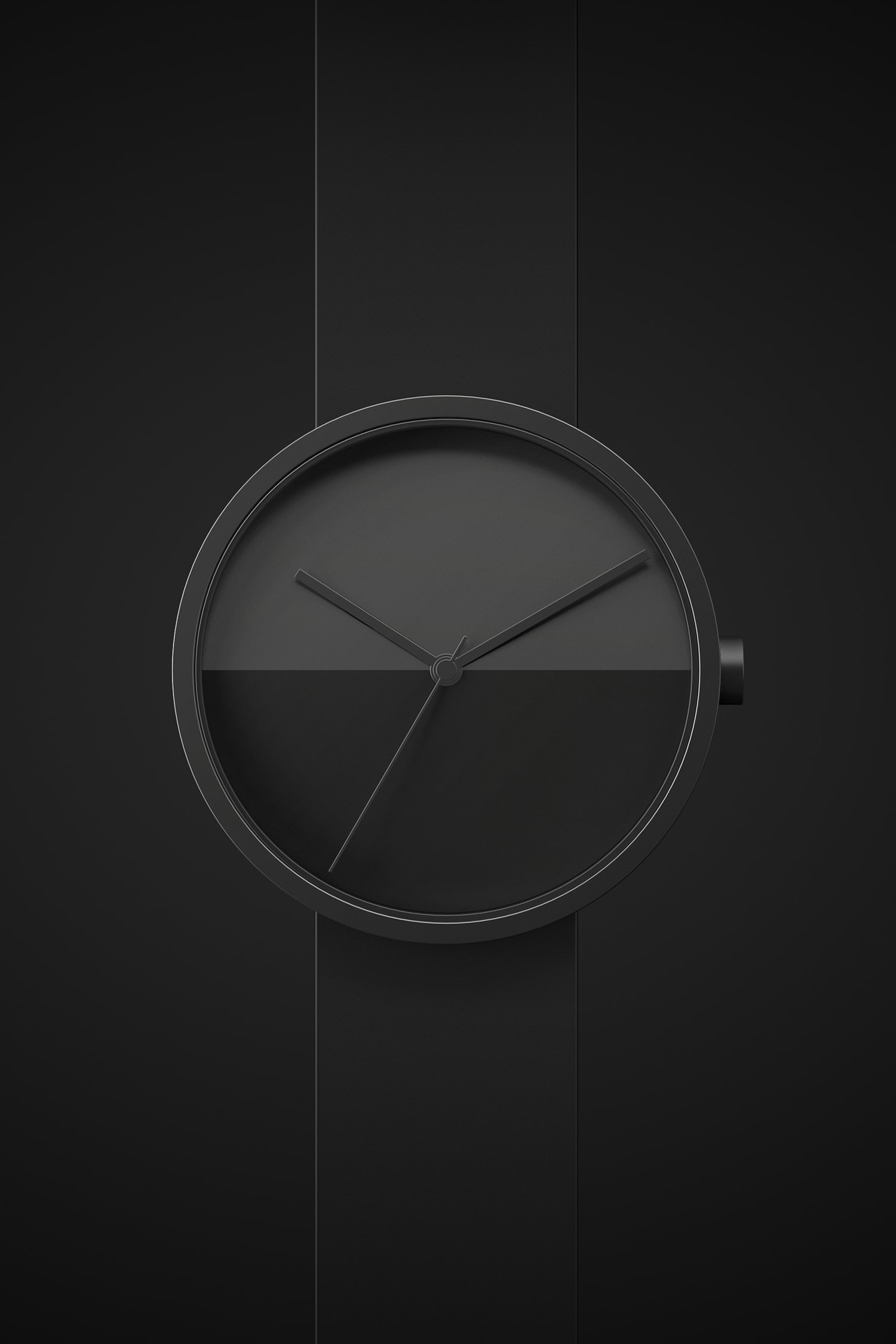 Front view of the Horizon watch face in black on a black background.