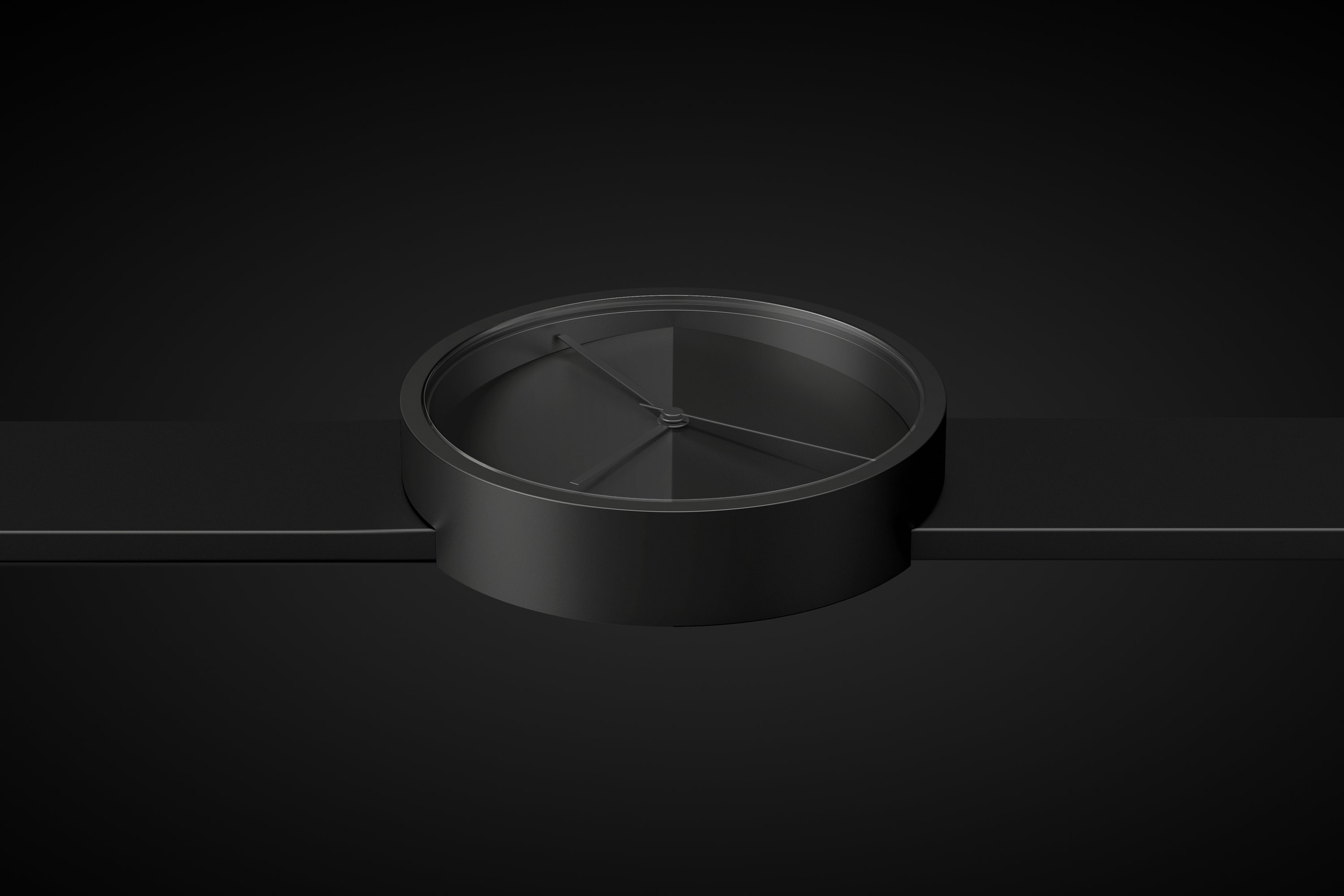 Isometric view showing the top and side of the Horizon watch face in black on a black background.