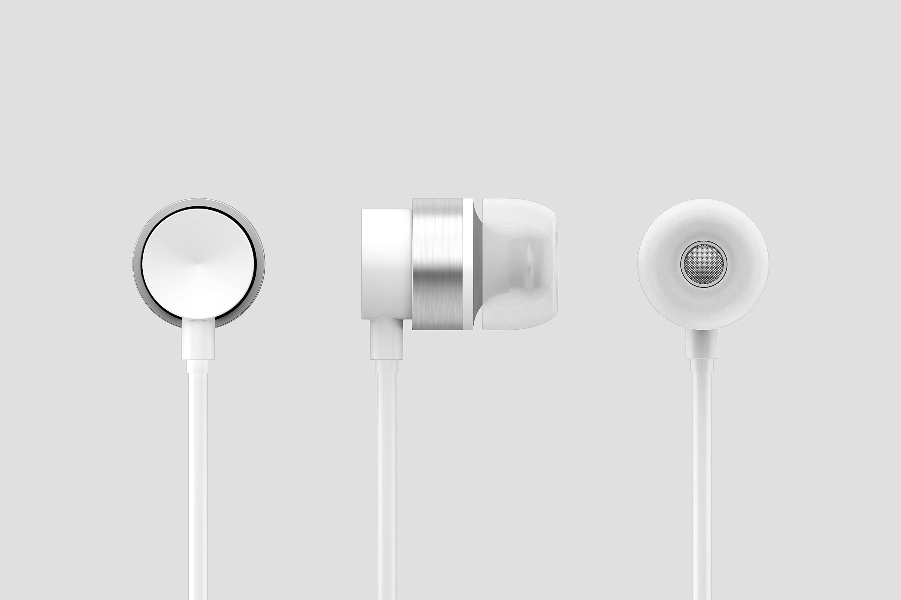 front, back and side view of white headphones on white background